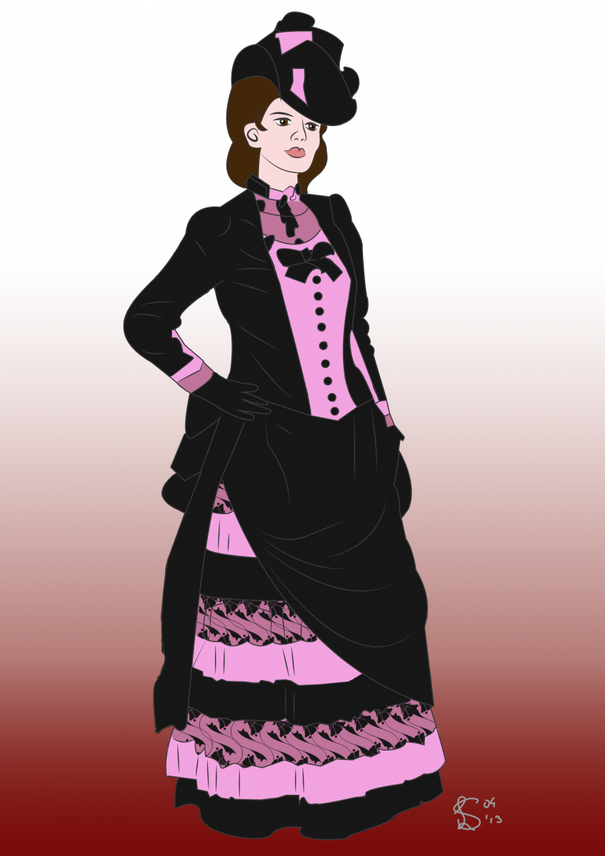 Drawing of Victorian Lady costume study