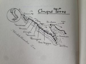 Kaartje van Cinque Terre in Italië